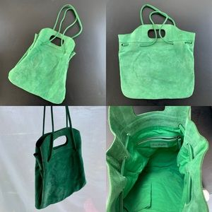 Free People Green Leather Suede Slouch Purse